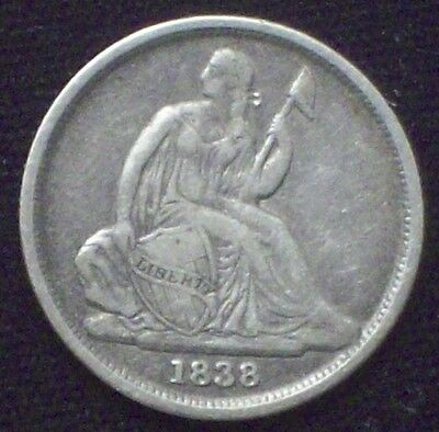 1838 O Seated Liberty DIME Authentic SILVER XF Detailing RARE No Stars Type!