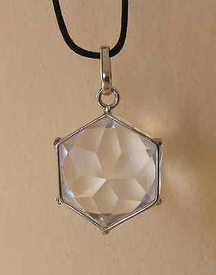 Flower of Life Pendant / Star Of David Crystal Pendant (Sterling Silver Frame)