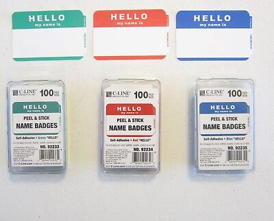 """300 """"hello My Name Is"""" Name Tags Labels Badges Stickers Peel Stick Adhesive"""