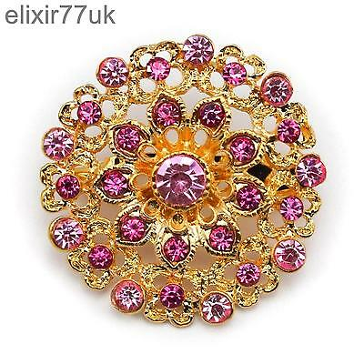 New Gold Flower Bouquet Brooch Pink Diamante Crystal Wedding Party Bridal Broach