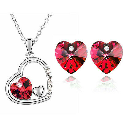 Romantic Red Hearts Jewellery Set Stud Earrings & Necklace Pendant S368