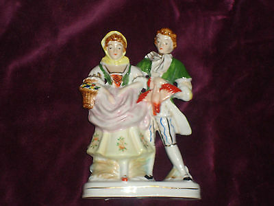 ANTIQUE PORCELAIN VICTORIAN MAN & WOMAN FIGURINE / MADE IN JAPAN