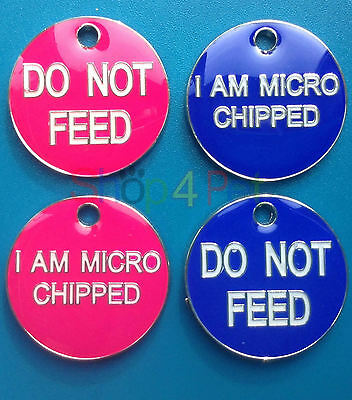 Pet ID Tag, DO NOT FEED or I AM MICRO CHIPPED, DOG or CAT TAGS, ENGRAVED OPTIONS