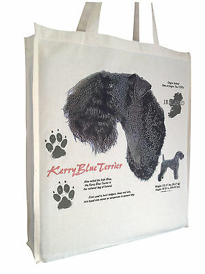 Kerry Blue Dog (b)  Reusable Cotton Shopping Bag Tote with Gusset Long Handles