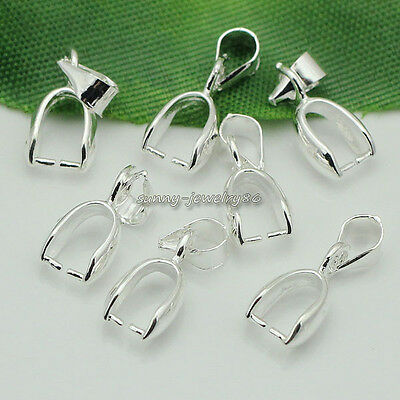 Wholesale 100pcs Silver Plated Pendant Pinch Bails Connector Clasps 16x6mm