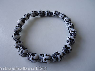 2 x  Skull Beads Stretchable Bracelet for Protection Wicca Pagan (BR-P-CH29)