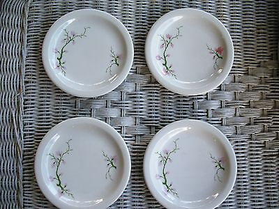 """4 SYRACUSE CHINA 5.5"""" White w/Pink Floral Blossoms Berkeley Plates"""