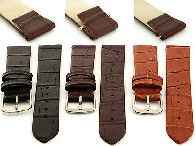Two-Piece Open Ended Genuine Leather Watch Strap Band Men's Women's Spring Bars