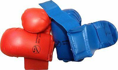 KARATE MITTS, GLOVES, WKF & EKF Approved, RED or BLUE, 3 x sizes: S, M or L