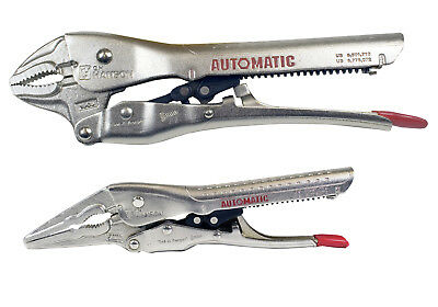 "CH Hanson 80300 2 pc. Automatic Locking Pliers - 10"" Curved, 7"" Needle"