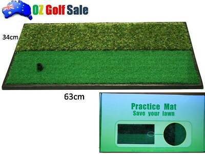 HEAVY DUTY GOLF DRIVING CHIPPING HITTING MAT 63 x34cm DUAL HEIGHT GRASS INC TEES