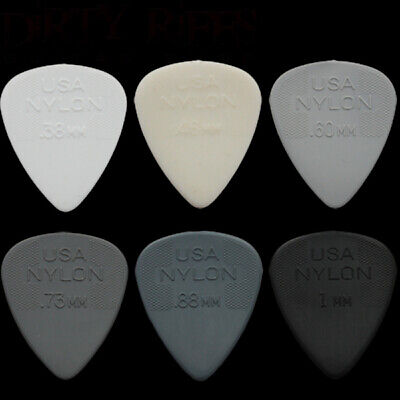 10 x Dunlop Nylon Standard Guitar Picks Plectrums - Your Choice Of Size / Type