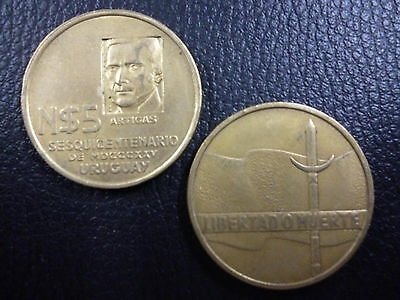 URUGUAY COMMEMORATIVE COIN 5 Nuevos Pesos KM65 XF+ 1975 - Anniv of Independence