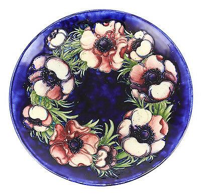 Signed Moorcroft Shallow Bowl blue, purples Hand painted floral, raised details