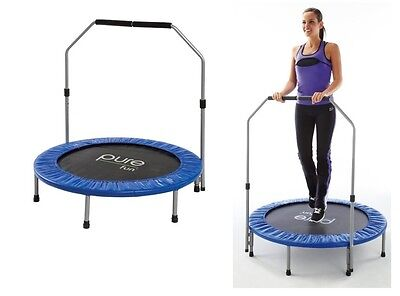 Pure Fun 40 Inch Mini Trampoline with Hand Rail, Cardio Workout, Easy Assembly