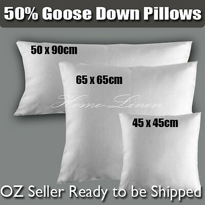 NEW Deluxe Soft 50% White Goose Down King Size Pillow 50*90/Cushion Insert 45cm