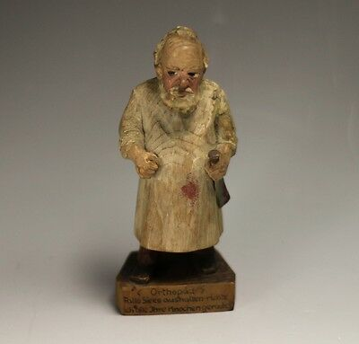 Austrian Hand Carved and Painted Wood Figurine Orthopedic or Bone Doctor