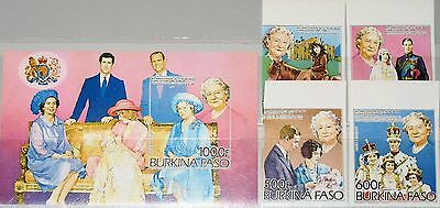 BURKINA FASO 1985 1012-15 Block 95 B 703-7 Queen Mother 85th Birthday Royals MNH