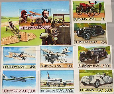 BURKINA FASO 1985 1019-26 Block 102 B Vintage Cars Aircrafts Autos Flugzeuge MNH