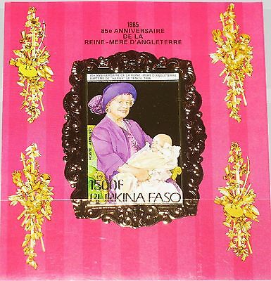 BURKINA FASO 1985 Block 101 B Queen Mother 85th Birthday Royals Gold Foil MNH