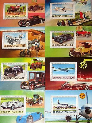 BURKINA FASO 1985 Block 103-110 Vintage Cars Aircrafts Autos Flugzeuge MNH