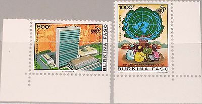 BURKINA FASO 1995 1373-74 50th Ann UNO UN Emblem HQ New York Buildings MNH