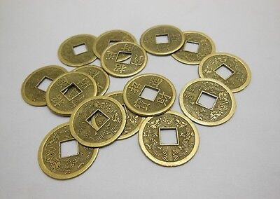 50 X Chinese Double Dragon  I Ching Bronze Coins 23mm + Red Pouch(CO31)