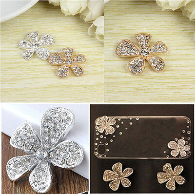 2 pcs Gold/silver diamante Rhinestone Alloy DIY Cabochons - shoes/phones/crafts