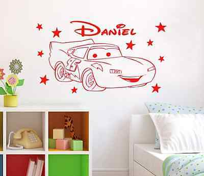 Wall Sticker Personalized Cars Pixar Customized Name & Color New Room Decoration