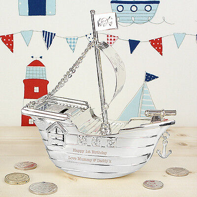 Personalised Silver Pirate Ship Moneybox - Christening Gift - Free Engraving
