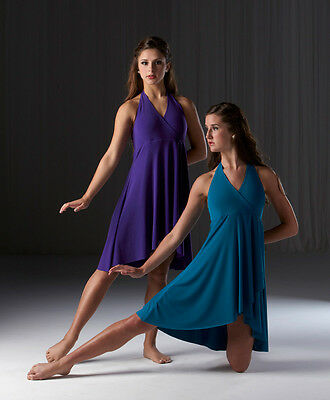 THE WAVE Lyrical Ballet Dance Costume PURPLE TEAL FUCHSIA 6X7-2XL Groups 13-234