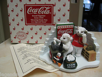Coca Cola Polar Bears & Penguin  Figurine -Hearing From You Is A Special Treat