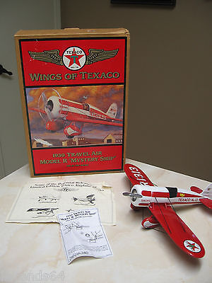 WINGS OF TEXACO METAL COIN BANK 1930 TRAVEL AIR MODEL R MYSTERY SHIP- 5TH SERIES