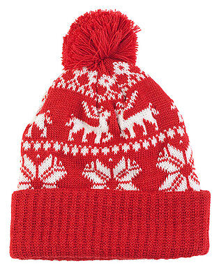 Central Chic Christmas Hat Pom Pom Beanie Winter Fair Isle Snowflakes Reindeer
