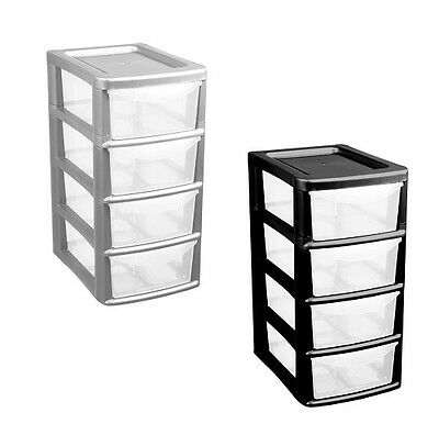 Plastic 4 Drawer Small Tower Storage Unit Office School Home Organise Made in UK