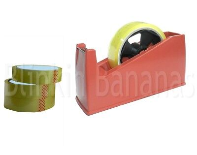Heavy Tape Dispenser & 4 Rolls Home Small Large Desktop Cellotape Sellotape 03