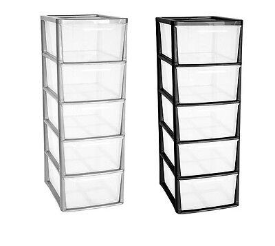 5 Drawer A4+ Tower Plastic Draw Storage Unit Office Home School Bedroom Strong