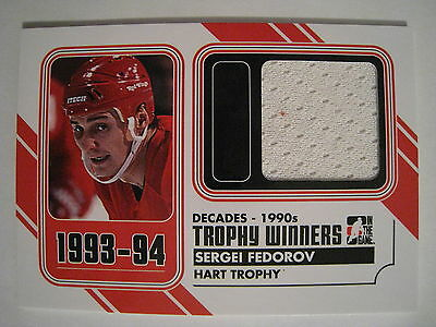 Sergei Fedorov 2013 ITG DECADES THE 90S TROPHY WINNERS GAME USED JERSEY /80
