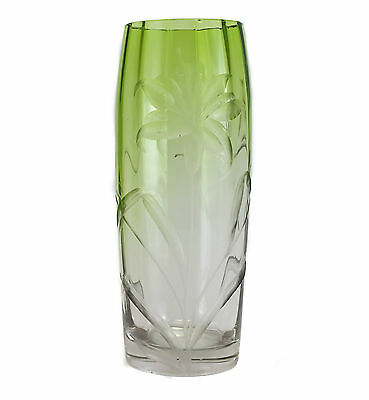 Moser Cut Crystal Vase - Fades from Green to Clear - Unsigned - Reverse relief