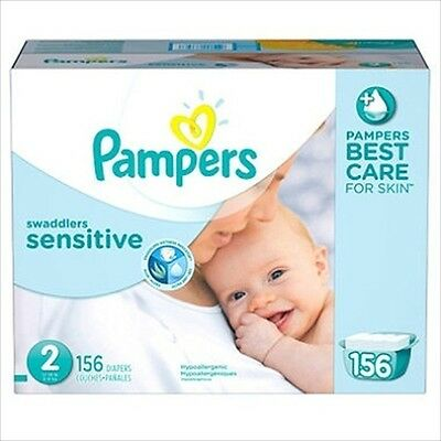 Pampers Swaddlers Sensitive Diapers Size 2 (12-18 lbs ) 156 Ct - Brand New Item