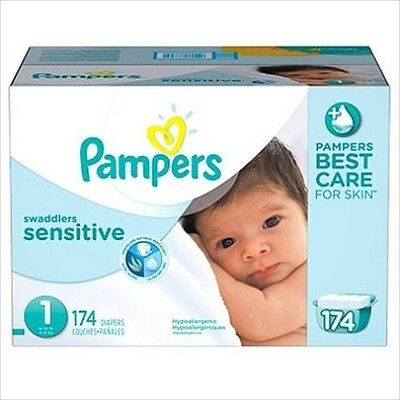 Pampers Swaddlers Sensitive Diapers Size 1 (8-14 lbs) 174 Ct - Brand New Item
