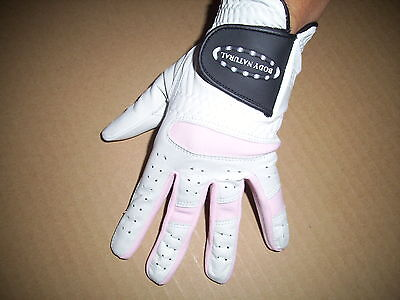 GENUINE WHITE LEATHER LADIES GOLF GLOVE (All sizes available) LH OR RH