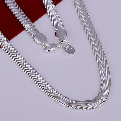 """Hot Sale 925 Sterling Solid Silver Plated 6mm Flat Snake Chain Necklace 16""""-24"""""""