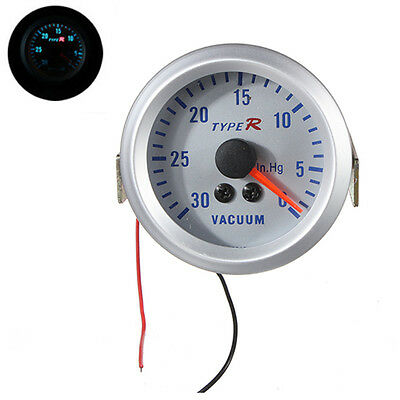 """2"""" 52mm Silver Dial Vacuum Gauge Pointer Meter Read From 0-30 In.Hg White 12V"""