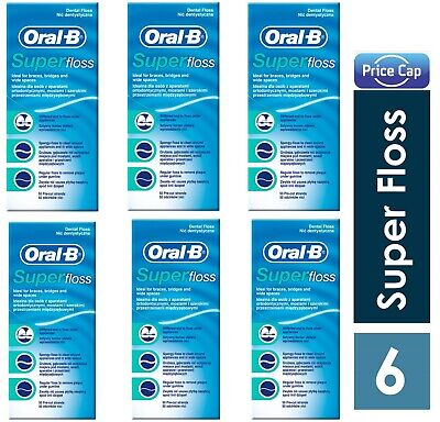 6 x Oral B Super Floss Mint 50 Pre Cut Strands, Dental Floss