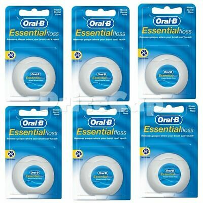 12 X Oral B Floss Essential Regular Waxed  DENTAL 50M  WAX, Same Day Ship