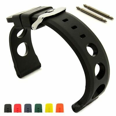Men's Two-Piece Perforated Silicone Rubber Watch Strap Band, Waterproof Resin SH