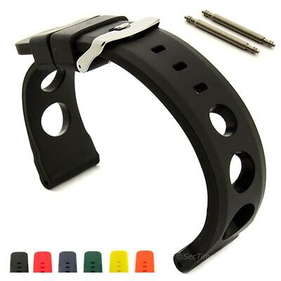 Perforated Silicone Rubber Watch Strap Band, Waterproof Resin SH 20mm 22mm 24mm