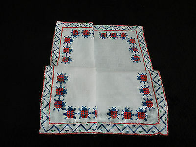 """vintage hand embroidered table cover  14""""/13""""   n5445"""