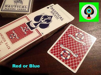 """Nautical Playing Cards by """"The Blue Crown"""" / Red & Blue Playing Cards."""